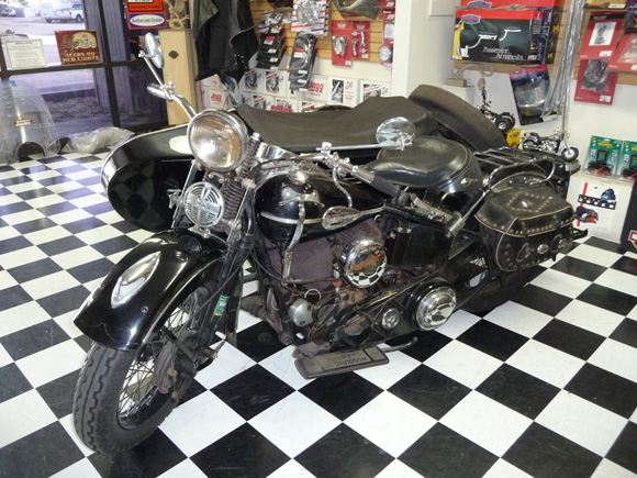 Unrestored 1939 Harley UL with 1945 sidecar for sale at SO CAL TRIKE CENTER